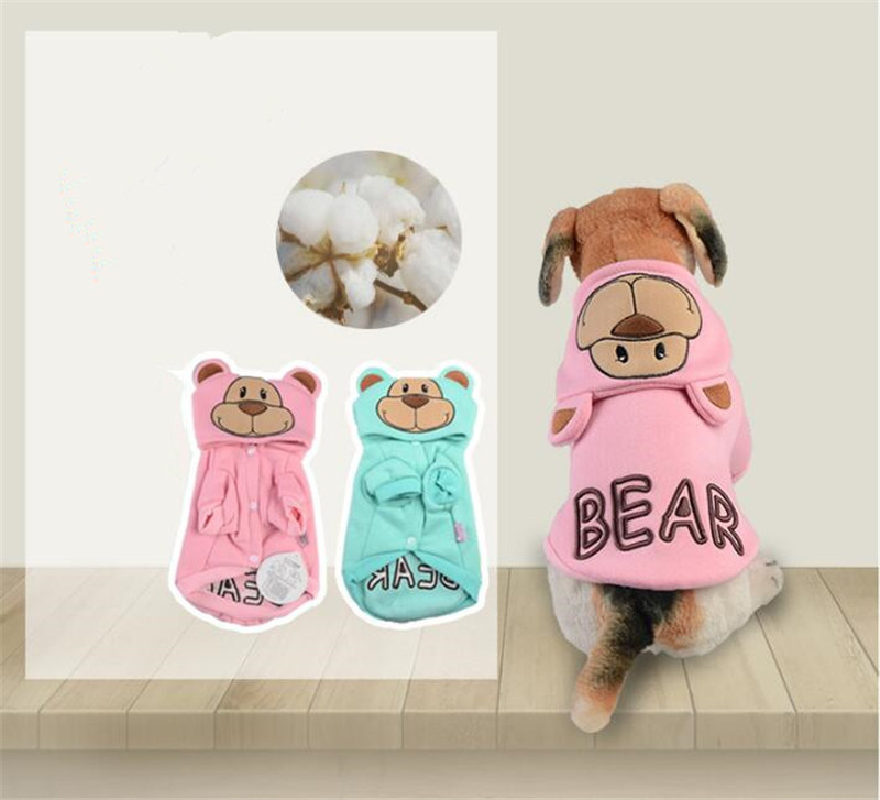 pet dog hoodies summer cotton sweatshirt for dogs cute bear design dog clothing dog clothes 2018 new product F19