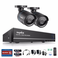 SANNCE 720P HD AHD Security Kit 4 Channel DVR Recorder And 2 HD 1280 720P In