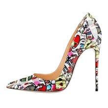 Zapatos de mujer 2020 tacones finos Sexy puntiagudos zapatos de verano otoño charol señoras bombas Stiletto fiesta zapatos D004C