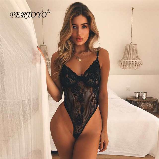 9cb817ac54 PERTOYO 2018 Deep V Lace Bodysuit Women Sexy Bodysuit Sleeveless Fitness Summer  Jumpsuit Ladies Backless Slip