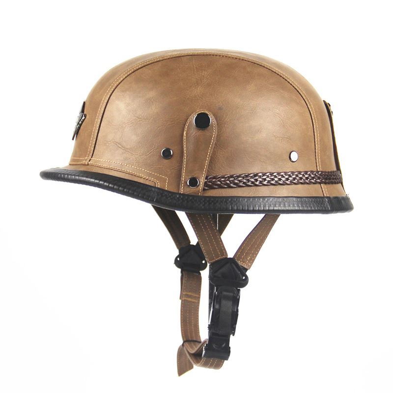 Adult vintage Open Face Half Leather Helmet Moto ...