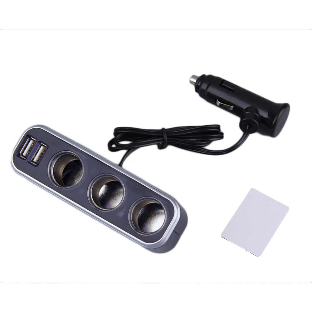 Universal 3 Socket Adapter Splitter 3.1A USB Charger Car DC 12V/24V Cigarette Lighter Socket Splitter+Dual USB Port Car Adapter
