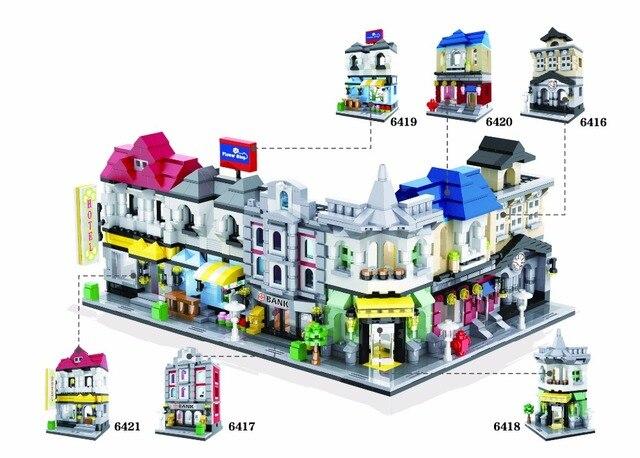 Funny Classic city mini street view building block Library Tax Bureau Hotel Bank Restaurant flower shop bricks toys for kids
