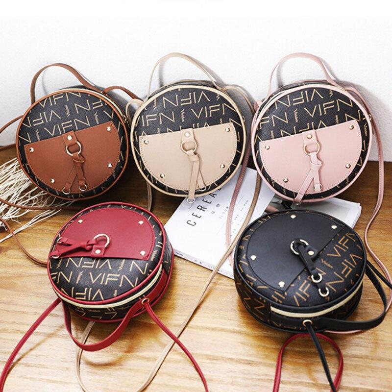 Vintage Scrub Leather Round Designer Crossbody Bag 2019 PU Leather Shoulder Bags Ladies Small Handbags Mini Tote Bag