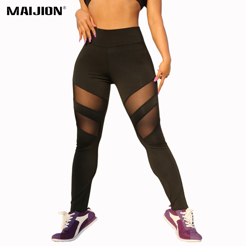 MAIJION Sexy Women Mesh Patchwork Running Pants High Waist Sports Fitness Leggings Ladies Workout Slim Breathable Yoga Pants