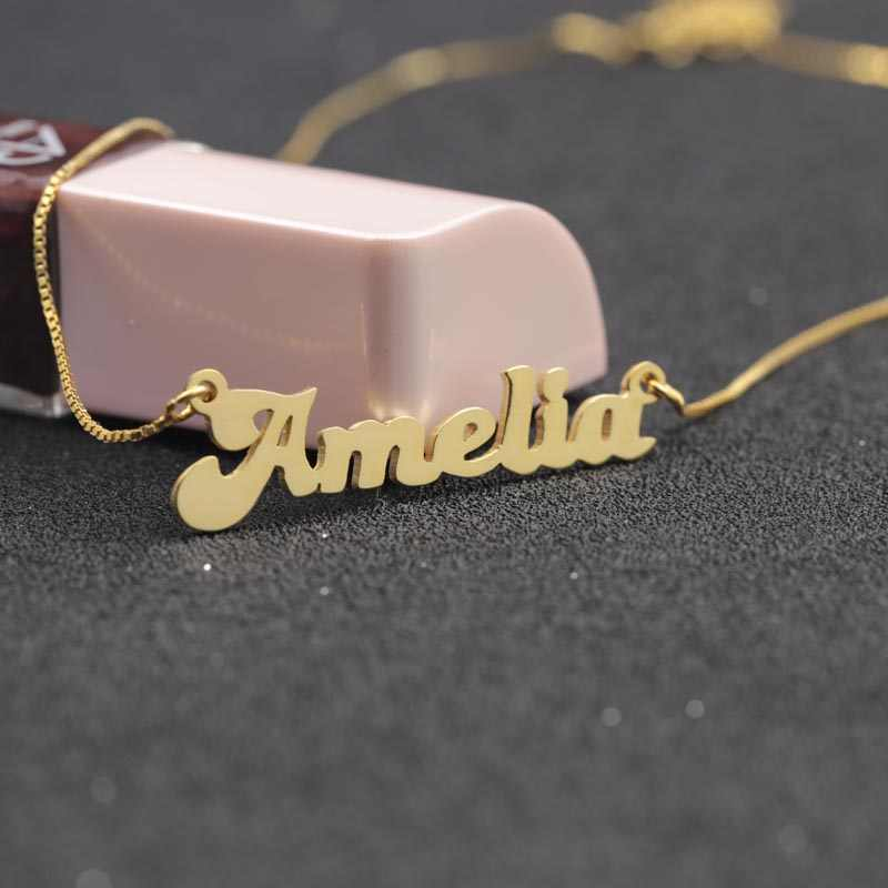 Custom Solid Name Necklace 925 Silver Personalized Golden Plated Nameplate Necklace Wholesale