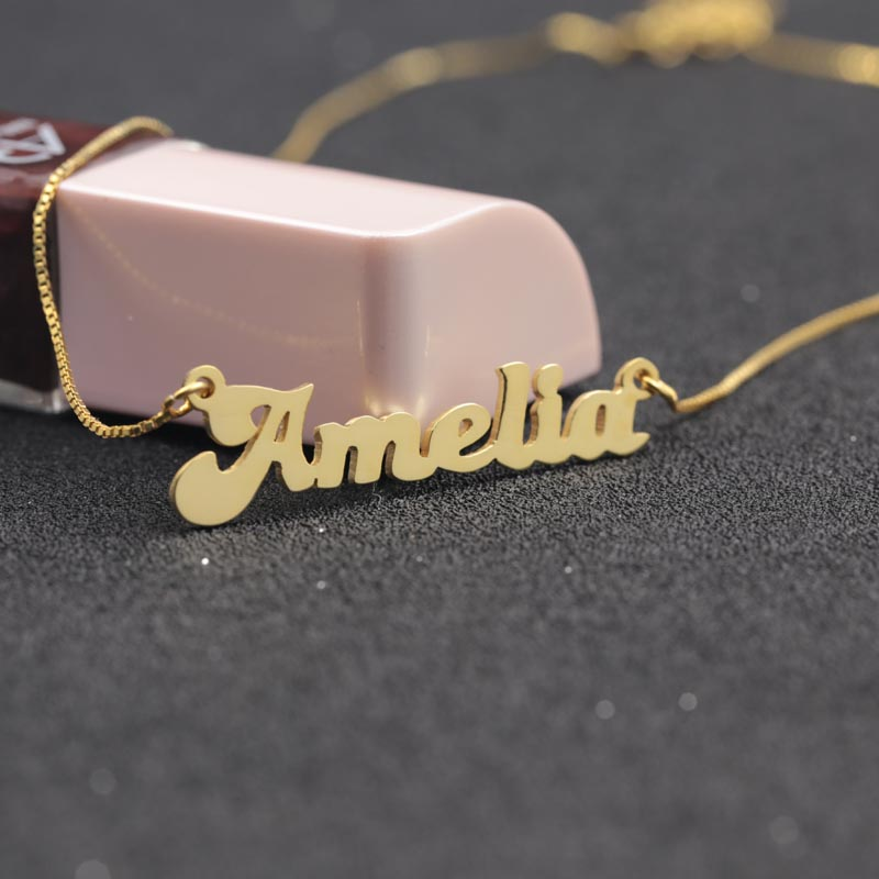 цена на Custom Solid Name Necklace 925 Silver Personalized Golden Plated Nameplate Necklace Wholesale