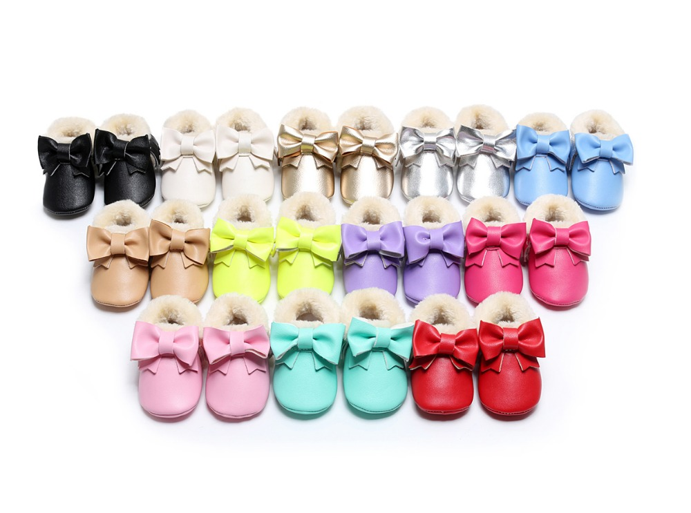 Hongteya New Winter Warm Fur Boots Pu Leather Baby Moccasins Shoes With Bow Baby Shoes Newborn First Walker Infant Girl Boots