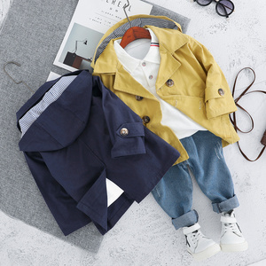 Image 3 - Children Trench Clothing Sets Outerwear & Coats Toddler Boy Girl Autumn Fashion 3PCS Coat + T Shirt + Pants 1 2 3 4 Years