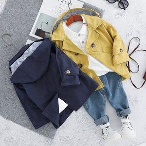 Image 3 - Conjunto de ropa de trenca para niños, prendas de abrigo y abrigos para niño y niña, abrigo de 3 uds, camiseta y pantalones de 1, 2, 3 y 4 años
