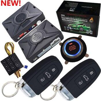 Top de segurança inteligente de alarme de carro passiva sistema keyless da entrada central auto trava botão start stop compatiable com cardot gps módulo