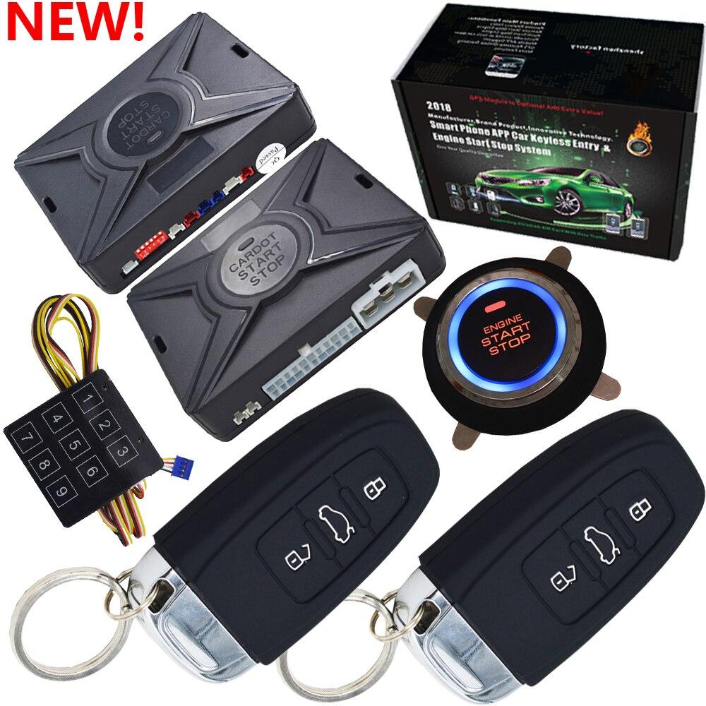 Top smart sécurité voiture alarme passif sans clé entrée automatique verrouillage central bouton poussoir démarrage arrêt compatible avec cardot gps module