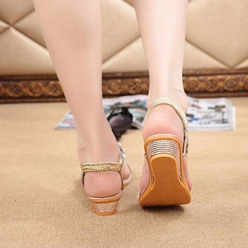 da68a5883e443e ... Women Summer Shoes Wedge Sandals Crystal Wedding Sandal Female Casual Flip  Flops Ankle strap Rubber Sole ...