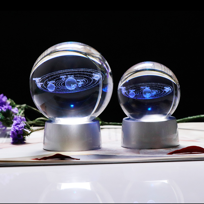 K9 Crystal Solar System 3D Laser Engraved Ball LED Chargeable Colorful Base Dropshipping Globe Home Decoration Ornament