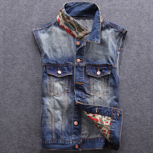 High Street Fashion Men Jacket No Sleeve Indian Totem Embroidery Hip Hop Vest Coat Size S-3XL Punk Style Denim