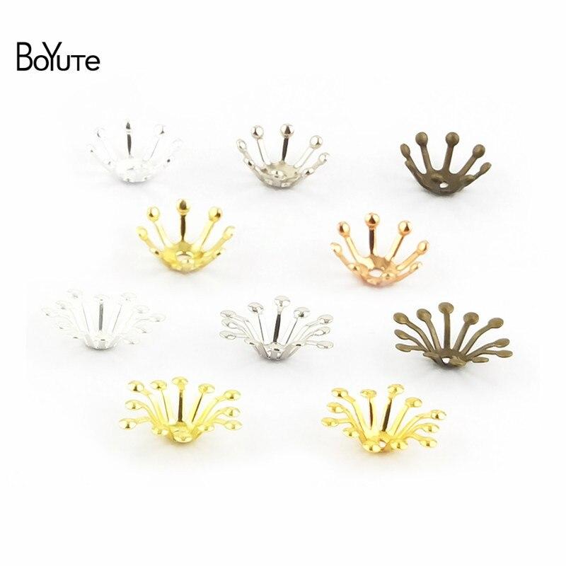 BoYuTe 100Pcs 10MM 13MM Metal Flower Bead Caps Diy Hand Made Jewelry Accessories