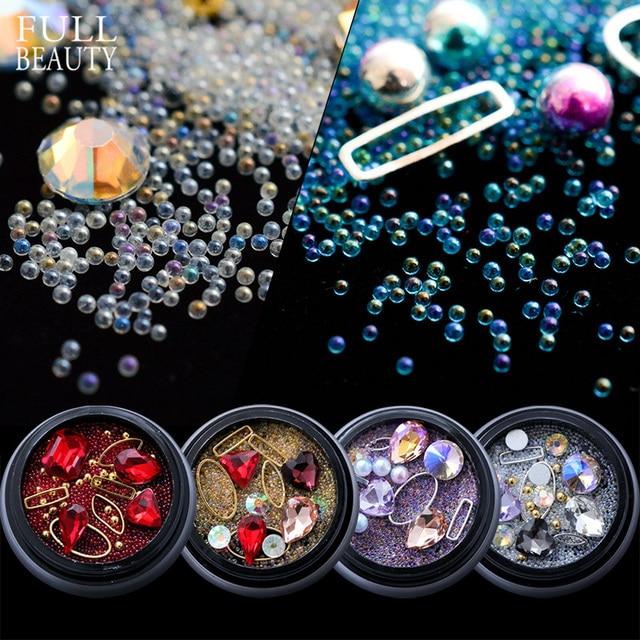 Full Beauty 10 Designs Nail Art Caviar Beads Glitter Rhinestones Mixed Metal Ring Decoration Crystal Pearl AB Gems Studs CH073