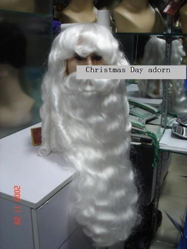 Wholesale& heat resistant LY free shipping>>Amazing snowy white Santa Claus beard+wig{ a set of } Christmas Day adorn