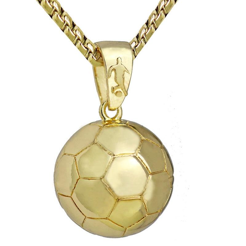 3d Football Soccer Necklace Ball Sports Pendant Gold