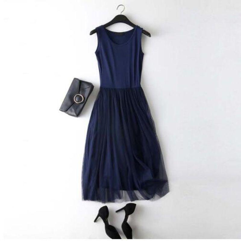 Sleeveless Mesh patchwork basic spaghetti strap Dress For Women 2020 Spring Tulle Elastic Lace Vest Summer Dress Female 3
