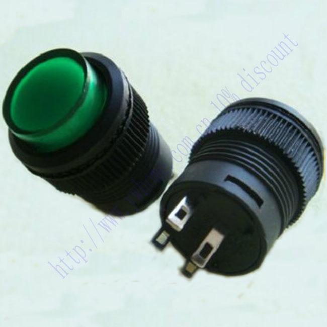 New 1pcs Green Light LED Self Locking 3V Off on 250V Switch R16 503AD G503L