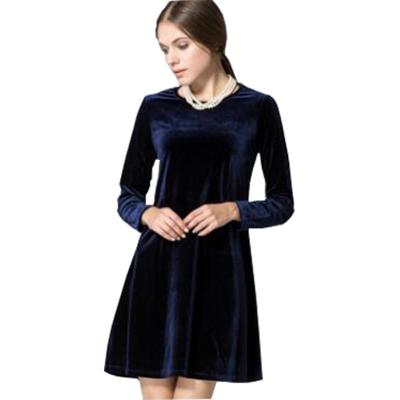 668b84c723912 Pure color Vogue women velvet fabric dress Western fashion ladies ...