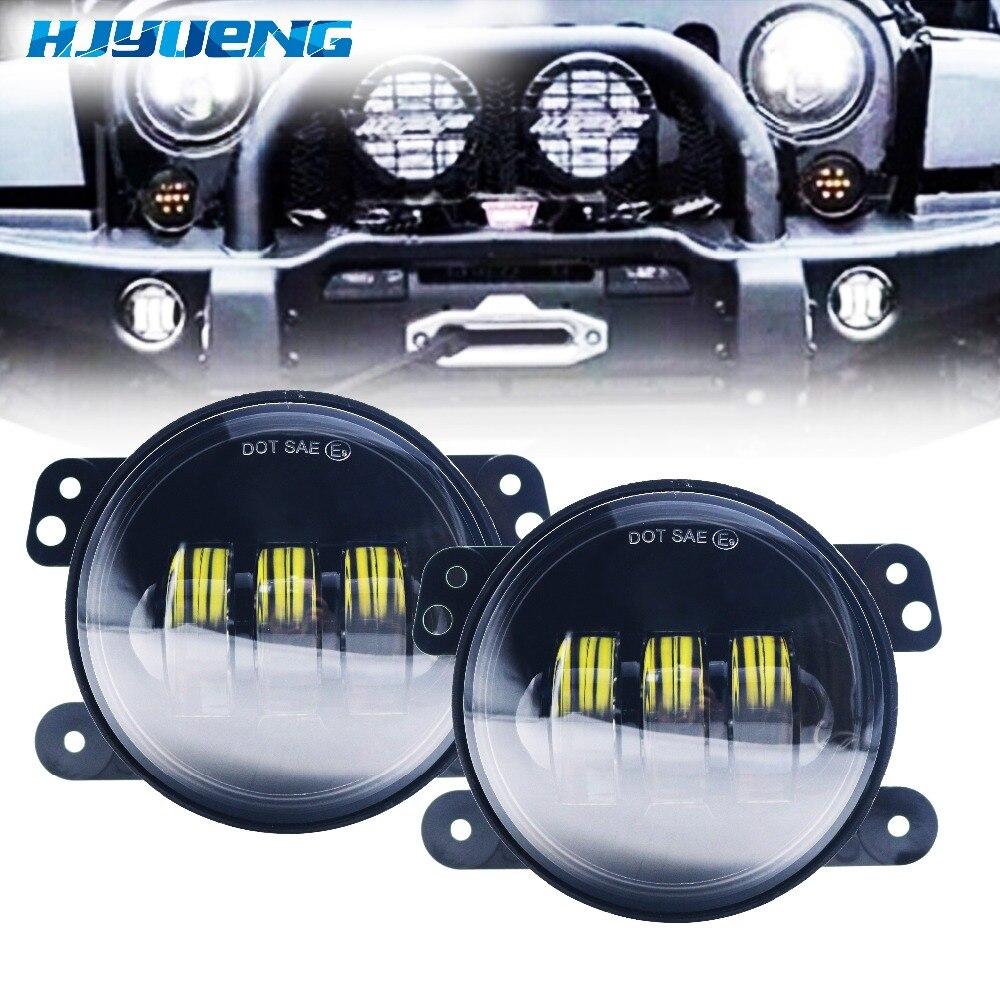 HJYUENG 2pcs 4Inch 30W black LED Fog Light 4''round LED fog lamp offroad car Headlamp for jeep wrangler Fog Light
