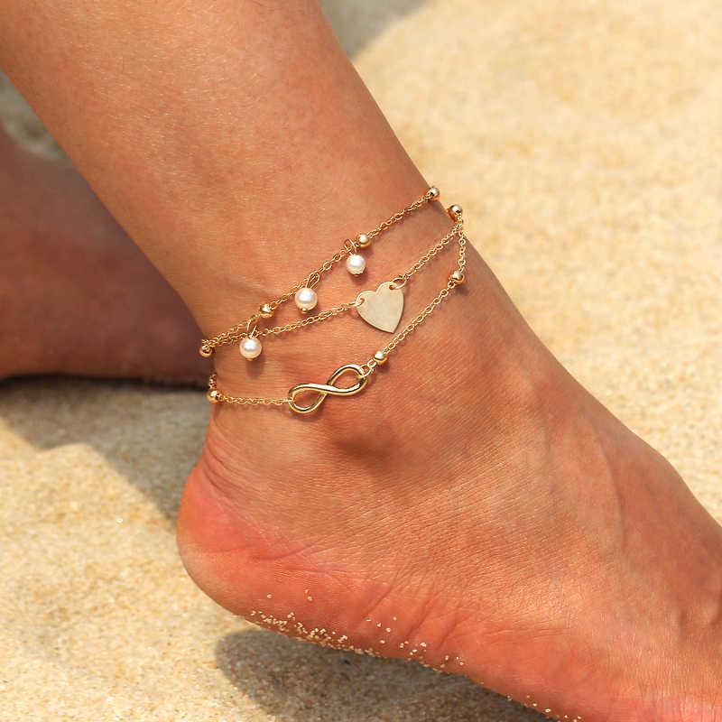 Многослойный ножной браслет с подвеской для ног золотая, серебряная цепочка 2018 лето йога пляж ноги браслет Шарм ножные браслеты ювелирные изделия подарок Бесплатная доставка
