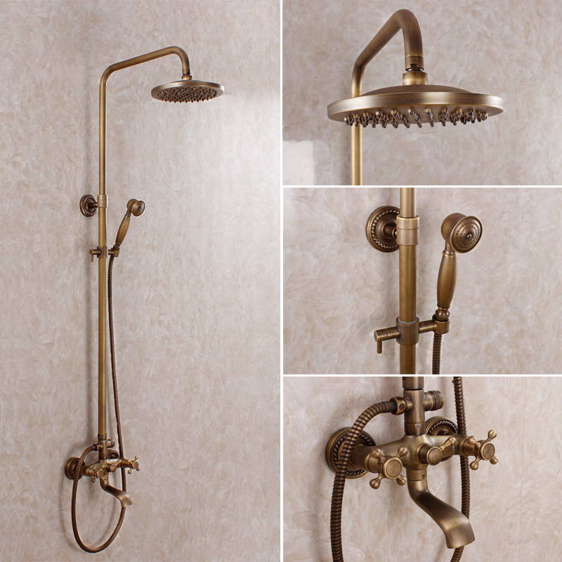 Luxury Antique Shower Set Bronze Finishing Shower Faucet Antique Bathroom Faucet Multifunctional
