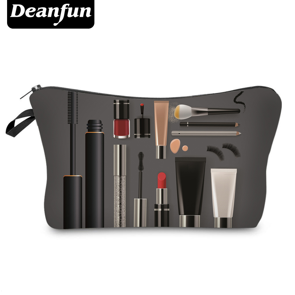 Deanfun Cosmetic Bag  New Fashion Black 3D Printed Zipper Polyester Travel Organizer Necessary Women's Makeup 50752