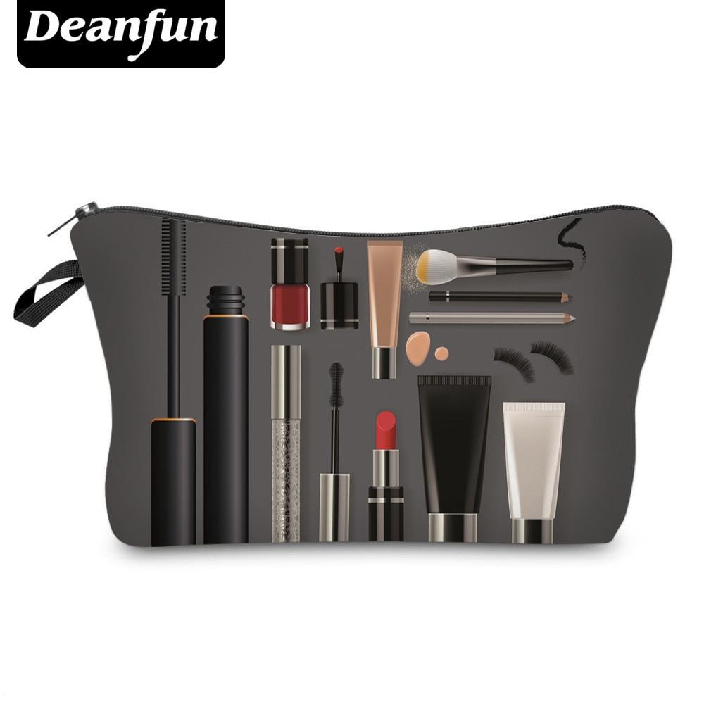 Deanfun Cosmetic Bag  New Fashion Black 3D Printed Zipper Polyester Travel Organizer Necessary Women's Makeup 50752