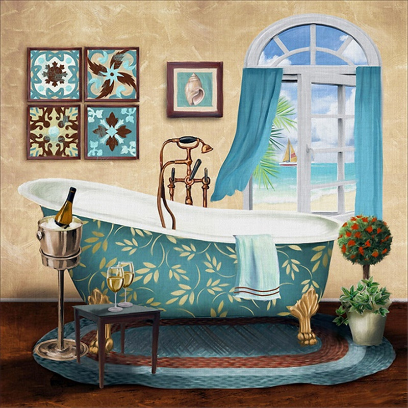 2pcs/set Bathroom Toilet Luxury Bathtub Modern Canvas Painting Home ...