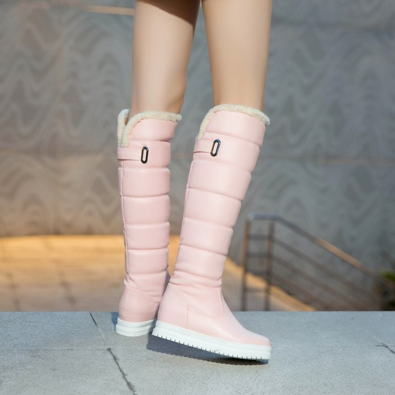 2018 En Moda Botas Negro Zapatos Rosa Black Invierno Caliente Otoño Med Plataforma Nueva Rodilla Pu Mujeres pink white Blanco Deslizamiento La Moto Sexy Talón 6Tqzwzd