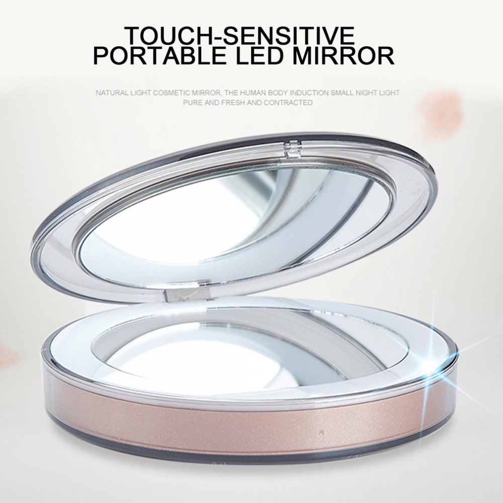 Women Foldable Makeup Mirrors Sensor LED Lights Lady Cosmetic Hand Mirrors With USB Cable New ArrivalWomen Foldable Makeup Mirrors Sensor LED Lights Lady Cosmetic Hand Mirrors With USB Cable New Arrival
