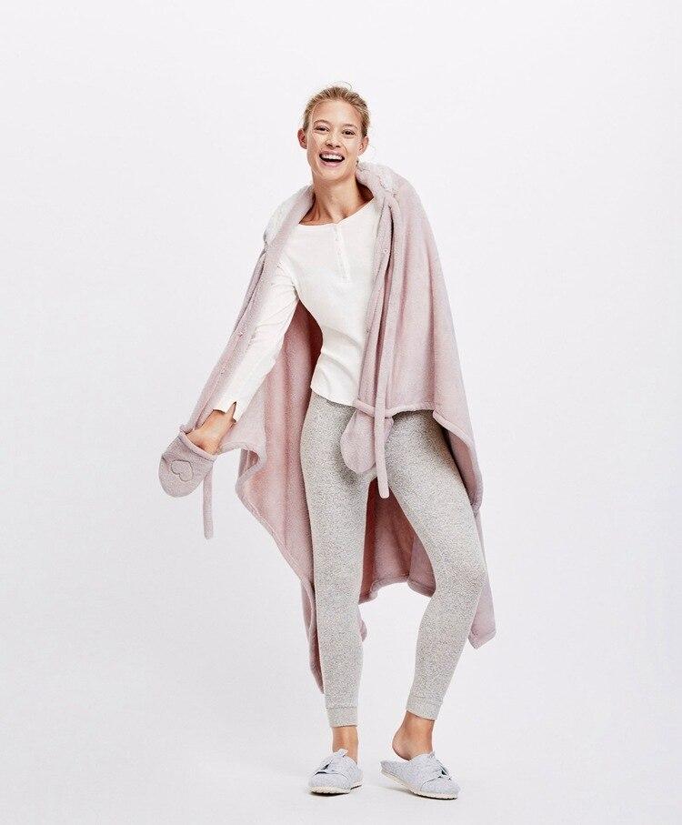 Cute Pink Comfy Blanket Sweatshirt Winter Warm Adults and Children Rabbit Ear Hooded Fleece Blanket Sleepwear Huge Bed Blankets 12