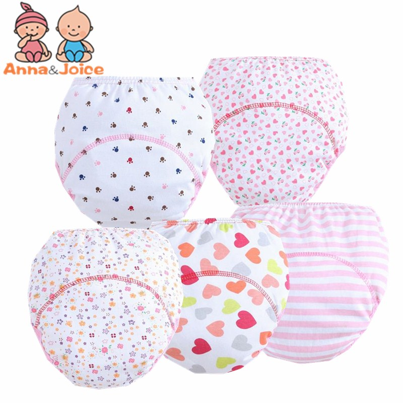 5Pc/lot  Training Pants Cotton Baby NappyBaby Girls Learning Pants Infant Nappy Cloth Diapers 90 Suit 9-13kg