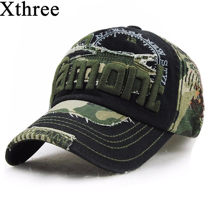 Xthree unisex camouflage baseball cap swag cap Casual Outdoor Sport snapback Hue til menn Cap kvinner gorra casquette Wholesale