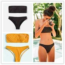 2019 Off Shoulder Striped Bikini Bandeau Black Yellow Swimwear Women Bathingsuit Swimsuit Biquini