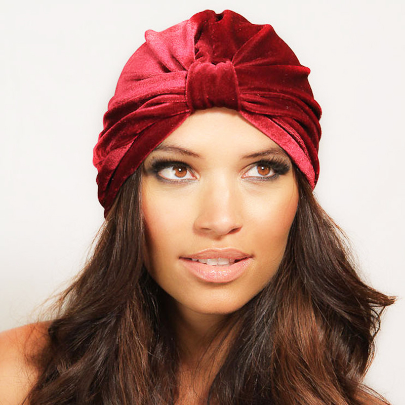 2019 Trendy Gold Velvet Headscarf Hats Solid Color Stain Turban Bonnet For Women Hijab Wrap Head Indian African Hat Jilbab