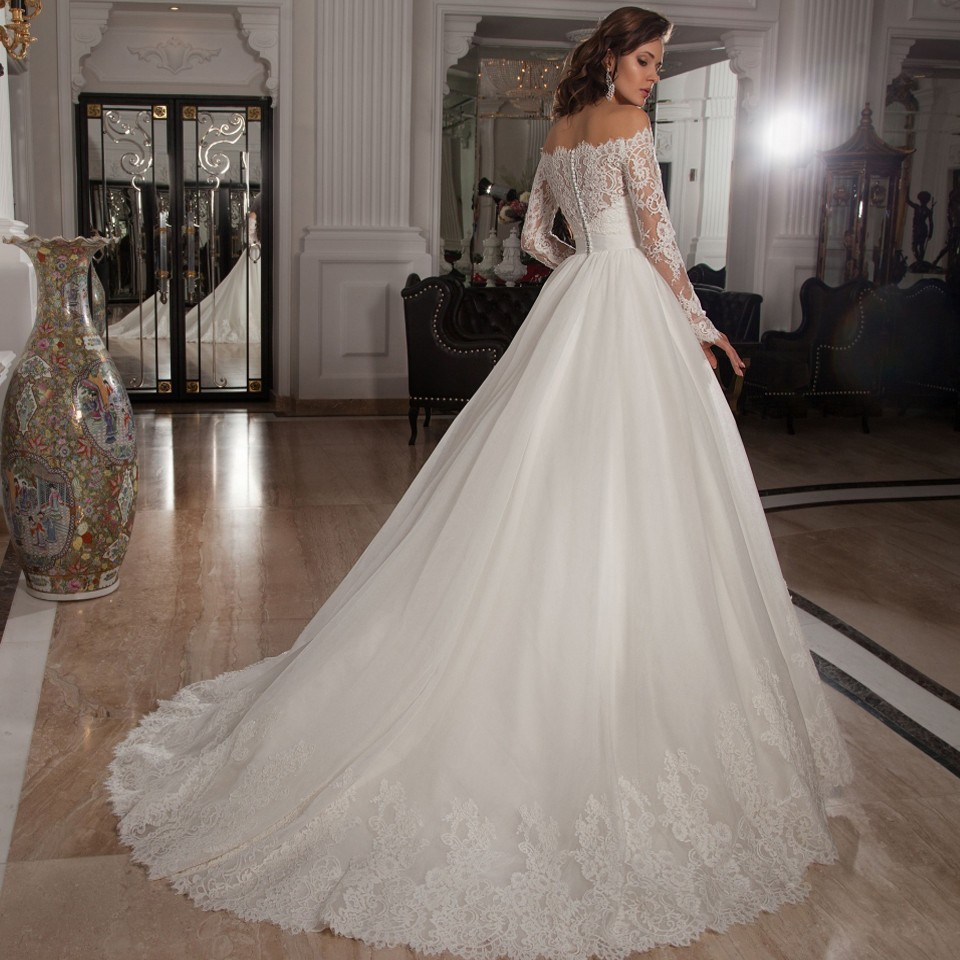 Wedding Dress 2017 Off The Shoulder A Line Lace Long Sleeve Tulle Court Train Sweetheart Gowns Free Shipping Mm202 In Dresses From