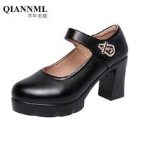 Block Heels Mary Jane Shoes Split Leather Pumps 2019 Autumn Platform Shoes Women High Heel Black Office Work Shoe Black