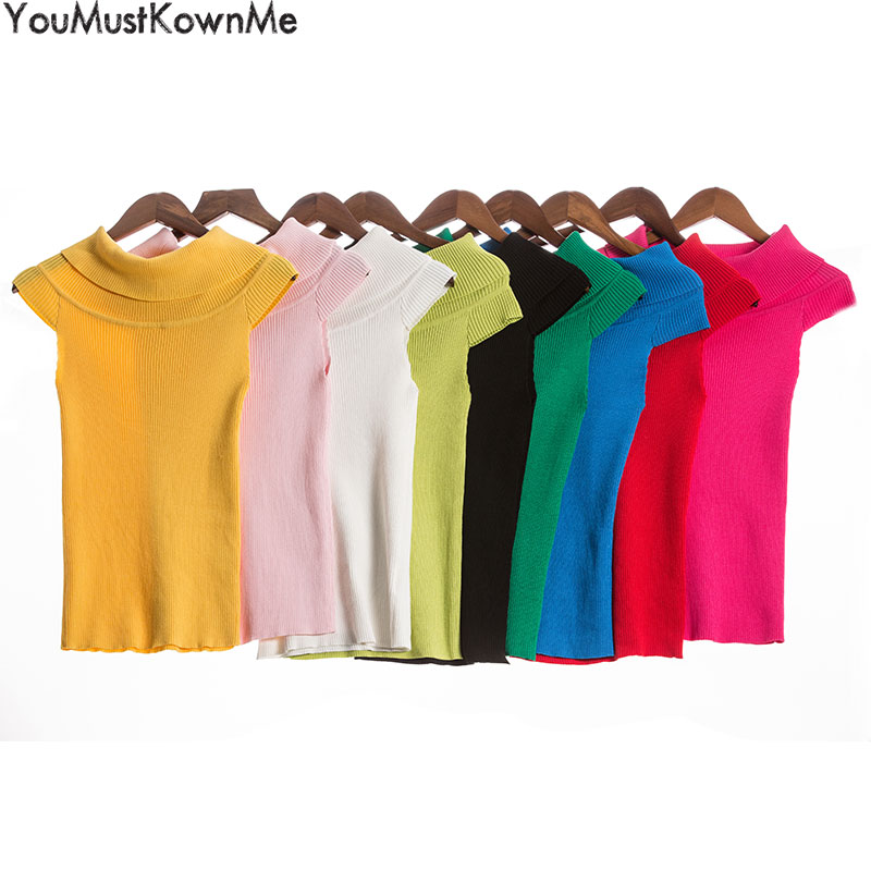 YouMustKnowMe women sexy off shoulder elastic bodycon sweater tank knitted sweater female christmas jumper cami sweaters top