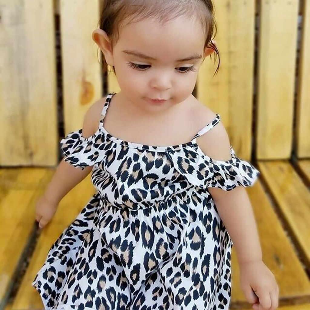 Осень 2019, леопардовая Одежда для новорожденных, одежда для маленьких девочек, летний комбинезон с открытыми плечами, комбинезон с оборками, От 6 месяцев до 4 лет