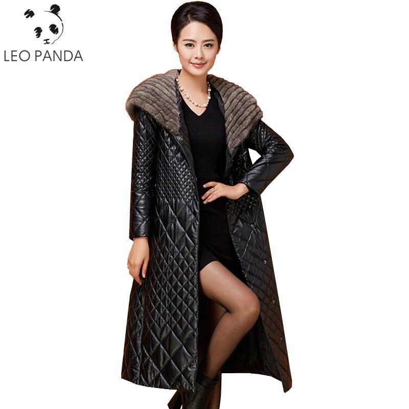 Mince À Capuchon De Parka Véritable 2019 Femelle En Chaud Hiver Manteau Veste Col Manteaux Plus La Cuir Mouton Longue Black Femmes Fourrure Vison Taille Peau Rj5qA4L3