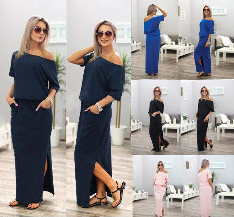SHIBEVER Casual Loose Strapless women dress fashion sexy slash neck Side  slit Long maxi summer dress ... 8e8540808d56