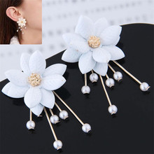 SexeMara New Zinc Alloy Trendy Plant Women Dangle Earrings Petal Pearl Sweet Earrings Flowers Earrings For Women Drops Earrings