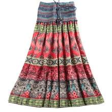 MWSFH Sommer Neue Ankunft Mode Elastische Taille Böhmischen Stil Blume Gedruckt Frauen Lange Röcke Saia Longa Röcke Wnmens Kleidung