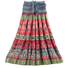 MWSFH Summer New Arrival Fashion Elastic Waist Bohemian Style Flower Printed Women Long Skirts Saia Longa