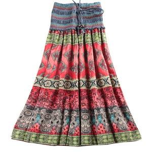 Image 1 - Женская длинная юбка с цветочным принтом MWSFH, летняя юбка с эластичным поясом в богемном стиле, одежда для мужчин