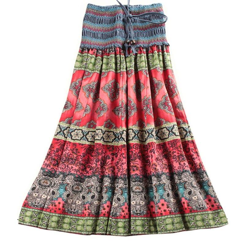 Mwsfh verão nova chegada moda cintura elástica estilo boêmio flor impresso saias longas femininas saia longa wnmens roupas